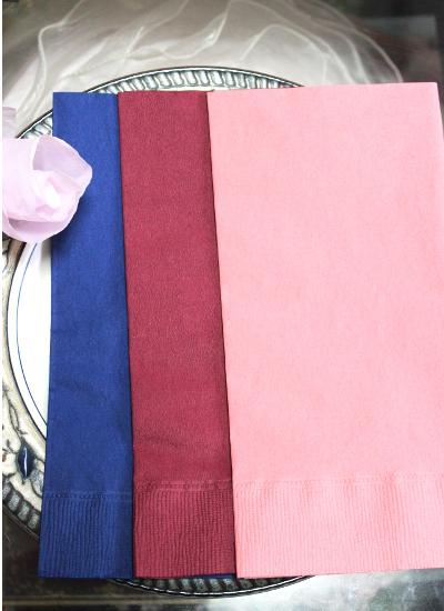 紙ナプキン・ピンク・ブルー・ワイン